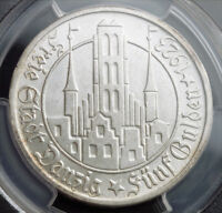 1923 GERMANY/POLAND DANZIG  FREE CITY . LARGE SILVER 5 GULDEN COIN. PCGS MS 62