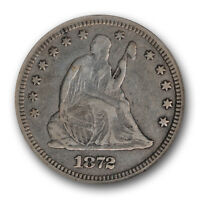 1872 SEATED LIBERTY QUARTER 25C NGC VF 35 FINE TO EXTRA FINE TOUGH DATE