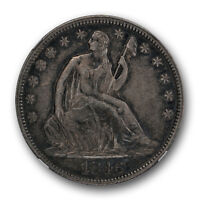 1846 TALL DATE SEATED LIBERTY HALF DOLLAR NGC XF 45 EXTRA FINE TO AU TONED