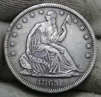 1865S SEATED LIBERTY HALF DOLLAR 50 CENTS. KEY DATE ONLY 675,000 MINTED 962
