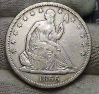 1866S SEATED LIBERTY HALF DOLLAR 50 CENTS   KEY DATE ONLY 994,000 MINTED 4079