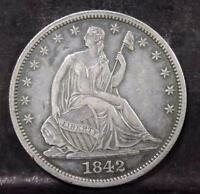 1842 CHOICE AU SEATED LIBERTY 50C HALF DOLLAR ID YY447