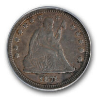1871 S  LIBERTY SEATED QUARTER ANACS EF 40 DETAILS EXTRA FINE KEY DATE COIN