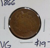 1866 VG  GOOD 2 TWO CENT  COIN