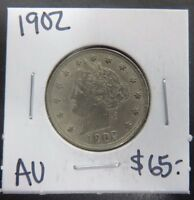 1902 AU ALMOST UNCIRCULATED LIBERTY NICKEL WITH CENTS