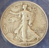 1941 D LIBERTY WALKING HALF DOLLAR SILVER ANACS VF 35.