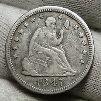 1847 SEATED LIBERTY QUARTER 25 CENTS   KEY DATE ONLY 734,000 MINTED. 3394