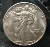 1945 S WALKING LIBERTY SILVER HALF DOLLAR   CHOICE AU   K153
