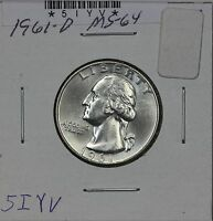 1961 D WASHINGTON QUARTER MS