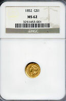 1852 $1 NGC MS 62 UNCIRCULATED MINT STATE LIBERTY GOLD ONE DOLLAR COIN G$1