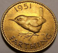 UNC GREAT BRITAIN 1951 FARTHING WREN FANTASTIC