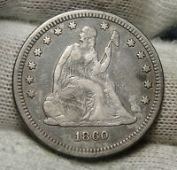 1860 SEATED LIBERTY QUARTER 25 CENTS    KEY DATE 804,400 MINTED. 3113