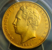 Click now to see the BUY IT NOW Price! 1883 PORTUGAL LUS I. GOLD 10 000 REIS COIN. ONLY 1 800 STRUCK  PCGS AU 58