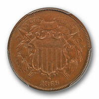 1869 2C TWO CENT PIECE PCGS MINT STATE 63 BN UNCIRCULATED LOOKS R