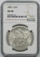 1887-S MORGAN DOLLAR $1 AU 58 NGC