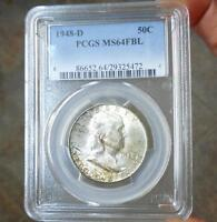 1948 D PCGS MS64 FBL FRANKLIN SILVER HALF DOLLAR TONED MS 64 FULL BELL LINE