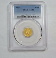 1855 TYPE 2 GOLD INDIAN PRINCESS HEAD $1 COIN SLABBED PCGS AU 53