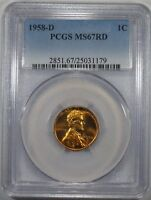1958 D LINCOLN WHEAT CENT PCGS MS67RD