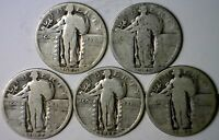 1925 1926 1927 1928 & 1929 STANDING LIBERTY QUARTER DOLLAR .25 SILVER 5 COIN LOT