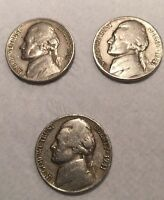 LOT OF 3 US NICKELS   UNITED STATES   1941 & 1948