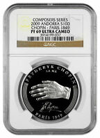 2009 ANDORRA LARGE PROOF SILVER 10 D CHOPIN 200 YEARS 1849 PARIS NGC PF69