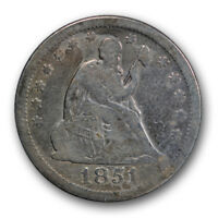 1851 25C LIBERTY SEATED QUARTER FINE F PHILADELPHIA P MINT R227