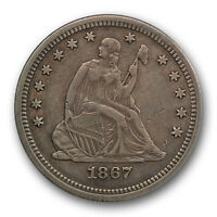 1867 25C LIBERTY SEATED QUARTER EXTRA FINE XF PHILADELPHIA P MINT R244