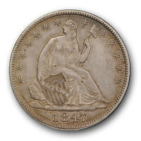 1847 50C LIBERTY SEATED HALF DOLLAR ABOUT UNCIRCULATED TO MINT STATE R308