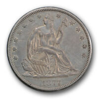 1877 CC 50C LIBERTY SEATED HALF DOLLAR ABOUT UNCIRCULATED TO MINT STATE R345