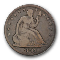 1881 50C LIBERTY SEATED HALF DOLLAR GOOD VG PHILADELPHIA MINT R354