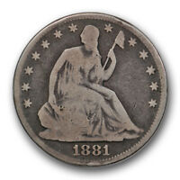 1881 50C LIBERTY SEATED HALF DOLLAR GOOD VG PHILADELPHIA MINT R353