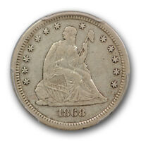 1868 S LIBERTY SEATED QUARTER PCGS VF 30 FINE TO XF KEY DATE CERT8276
