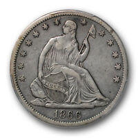 1866 S 50C MOTTO LIBERTY SEATED HALF DOLLAR PCGS XF 40 EXTRA FINE
