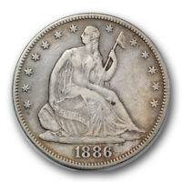 1886 50C LIBERTY SEATED HALF DOLLAR FINE TO EXTRA FINE LOW MINTAGE R423