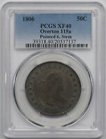1806 O-115A POINTED 6, STEM DRAPED BUST HALF DOLLAR 50C EXTRA FINE  40 PCGS OVERTON-115A