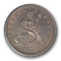 1887 25C LIBERTY SEATED QUARTER ABOUT UNCIRCULATED TO MINT STATE R440