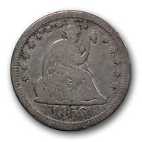 1856 S/S 25C LARGE/SMALL S FS 501 LIBERTY SEATED QUARTER FINE F R463
