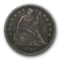 1845 $1 LIBERTY SEATED DOLLAR EXTRA FINE XF TOUGH DATE TONED R481