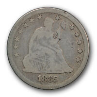 1885 25C LIBERTY SEATED QUARTER GOOD G LOW MINTAGE R523