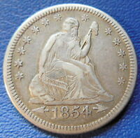 1854 O QUARTER SEATED LIBERTY EXTRA FINE TO ABOUT UNCIRCULATED US COIN 168