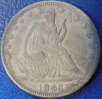 1846 TALL DATE HALF DOLLAR SEATED LIBERTY ABOUT UNCIRCULATED AU US COIN 10464