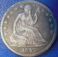 1845 O HALF DOLLAR SEATED LIBERTY FINE TO EXTRA FINE US COIN 10463
