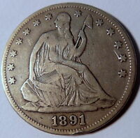 1891 SEATED LIBERTY HALF DOLLAR FINE F BETTER DATE US COIN LOW MINTAGE 10154