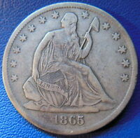 1865 S SEATED LIBERTY HALF DOLLAR FINE TO EXTRA FINE ORIGINAL US COIN 9556