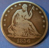 1856 S SEATED LIBERTY HALF DOLLAR FINE KEY DATE US 50C COIN 6020