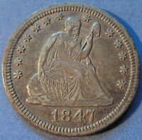 1847 SEATED LIBERTY QUARTER ABOUT UNCIRCULATED AU BETTER DATE ORIGINAL 5992