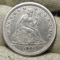 1860 SEATED LIBERTY QUARTER 25 CENTS    KEY DATE 804,400 MINTED. 4402