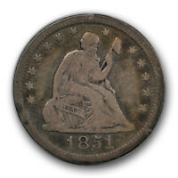 1851 25C LIBERTY SEATED QUARTER FINE VF PHILADELPHIA P MINT R564