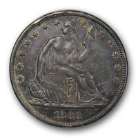 1868 50C LIBERTY SEATED HALF DOLLAR ABOUT UNCIRCULATED AU TOUGH DATE R585