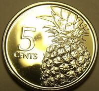 GEM UNC BAHAMAS 2015 5 CENTS PINEAPPLE COIN